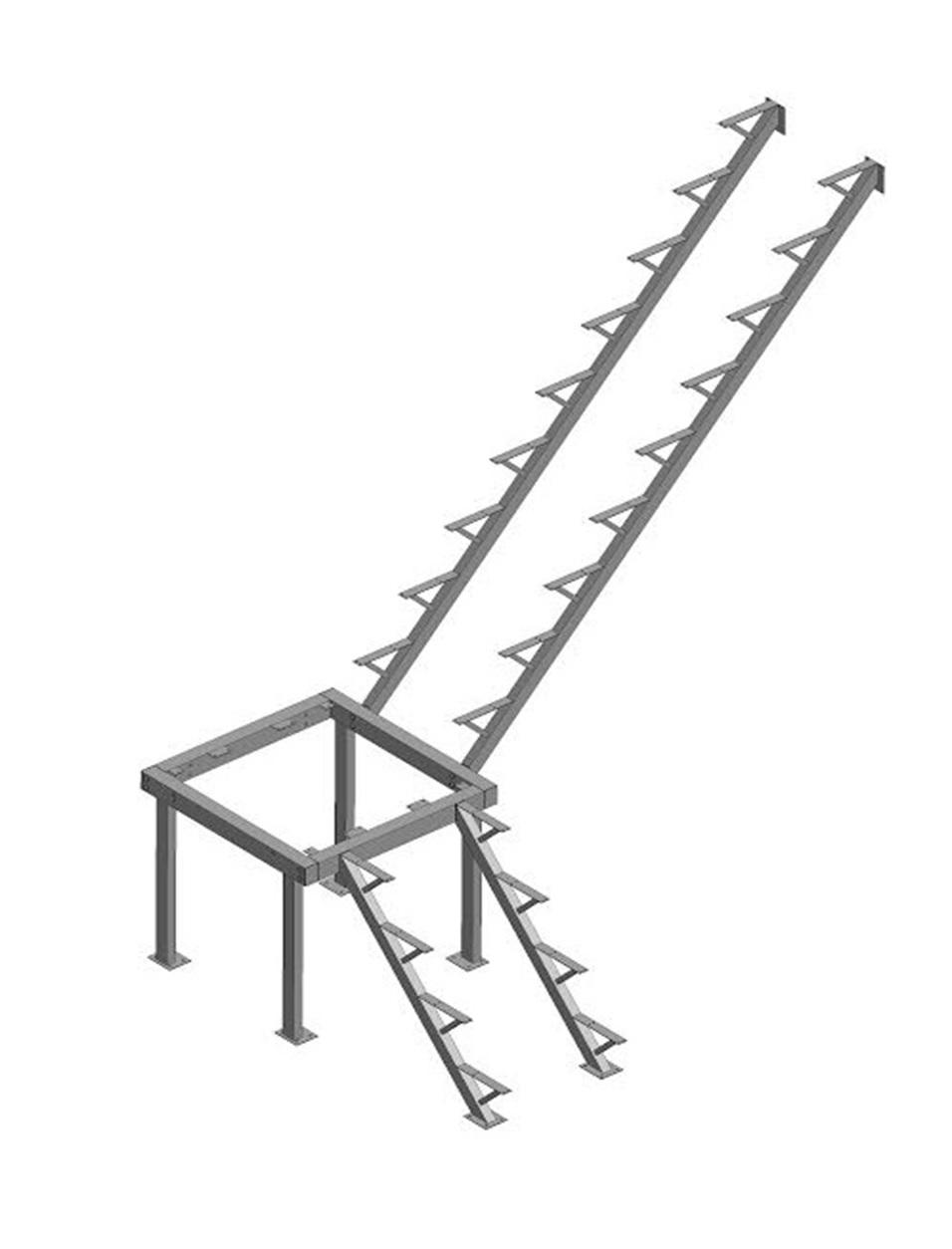 Каркас к лестнице ЛЕС-05 универсальной (поворот 90°)