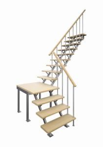 Деревянная межэтажная лестница ЛЕС-05 (поворот 90°)