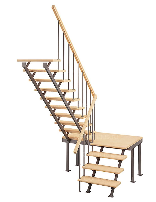 Деревянная межэтажная лестница ЛЕС-06 (поворот 180°)