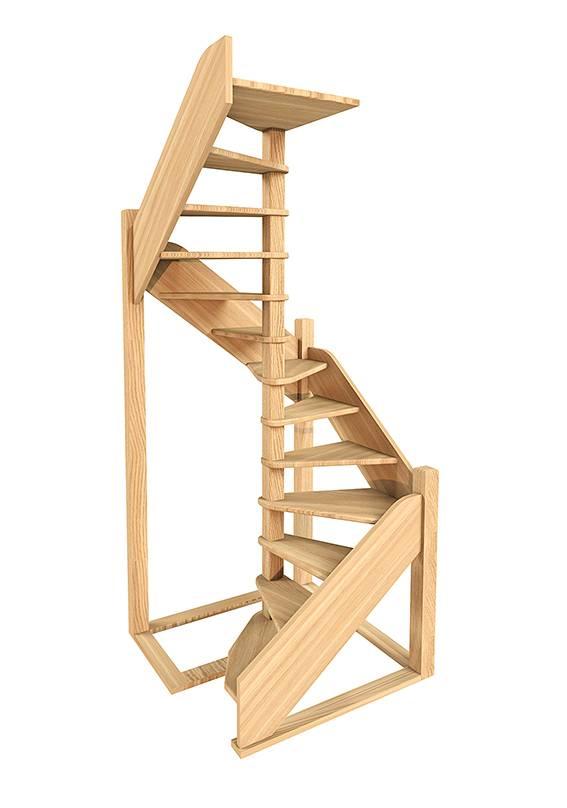 Деревянная межэтажная лестница ЛЕС-1,2 ВУ(поворот 360°)